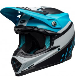 Casque BELL Moto-9 Mips Prophecy Matte White/Black/Blue taille