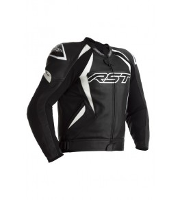 Blouson RST Tractech EVO 4 cuir - noir bandes blanches taille XS